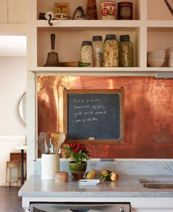 polished copper sheets look rustic and eye-catching