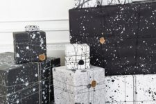 22 splatter black and white gift wrapping is unusual