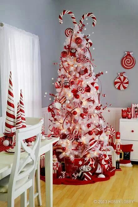 whimsy wwhite tree with red and white decorations and ornaments - White Christmas Tree With Red Decorations