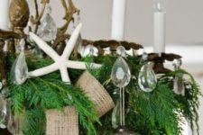 23 burlap ribbon, a brown ornament and a starfish for coastal Christmas