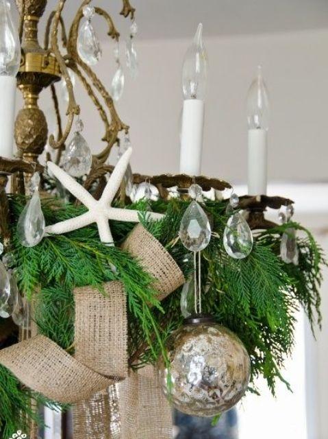 burlap ribbon, a brown ornament and a starfish for coastal Christmas