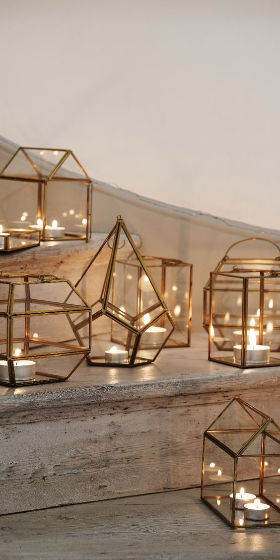 copper geometric candle lanterns