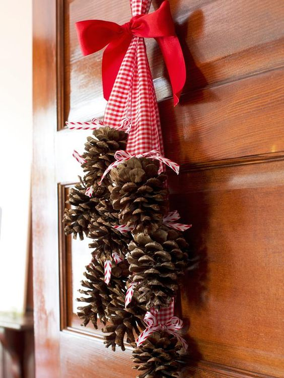 gather pinecones in your yard and add a chunky ribbon.
