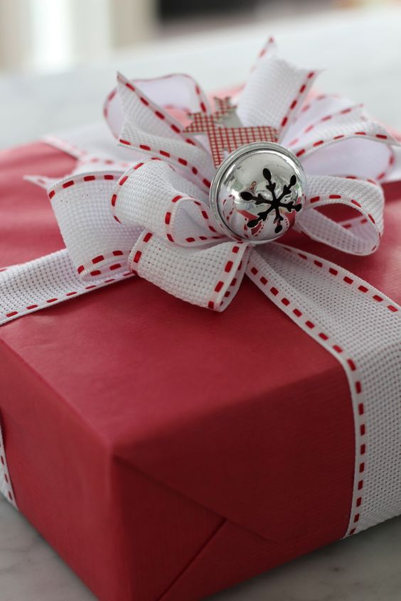 red and white Christmas gift packing