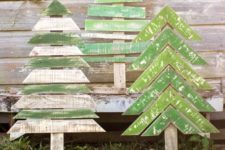 23 shabby chic simple Christmas trees in green