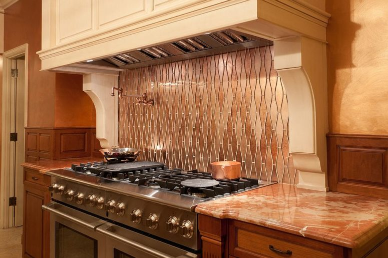 27 trendy and chic copper kitchen backsplashes digsdigs - Custom kitchen backsplash tiles ...