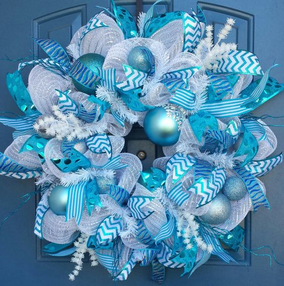 white and blue deco mesh ribbon wreath with ornaments