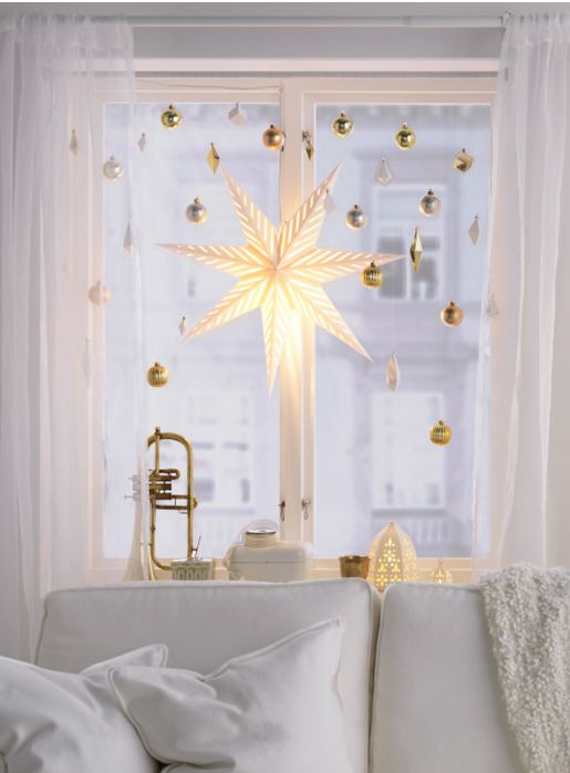 gold ornaments and an oversized shining star