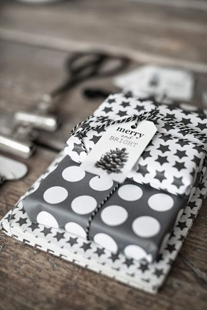 polka dot and star wrapping paper for gifts