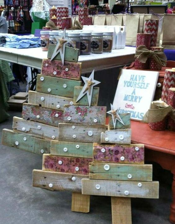 shabby reclaimed wood Christmas trees with buttons and stars