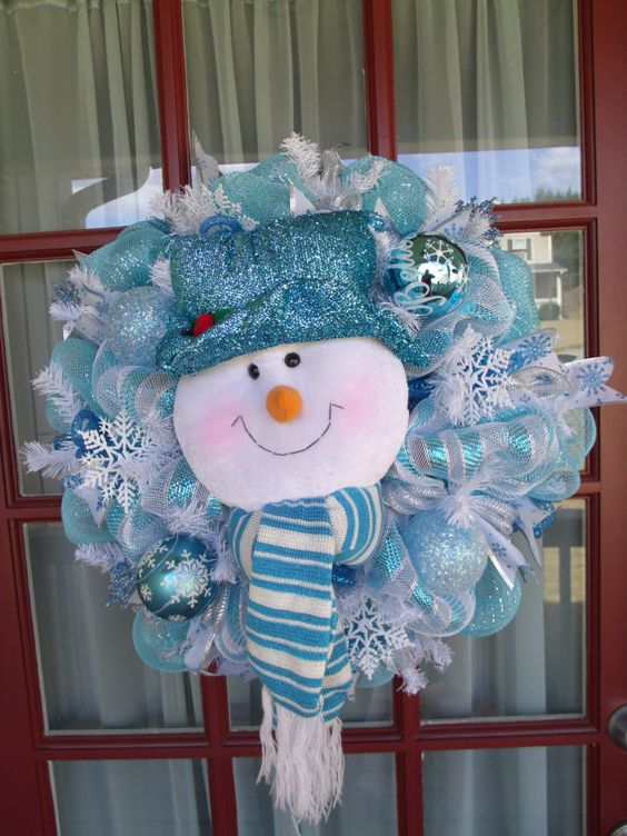 turquouse, glitter and white deco mesh wreath with a snowman