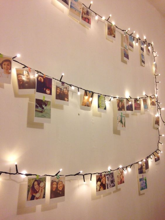 use clips to attach cards to fairy lights