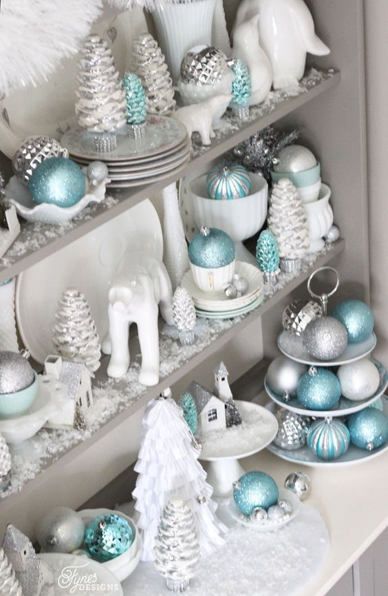aqua, silver and white Christmas decor