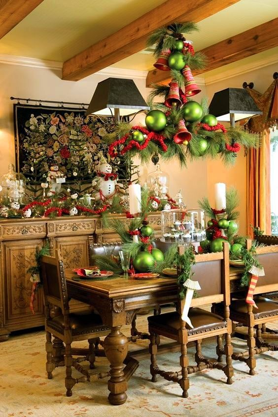 evergreens, large bells and oversized green ornaments
