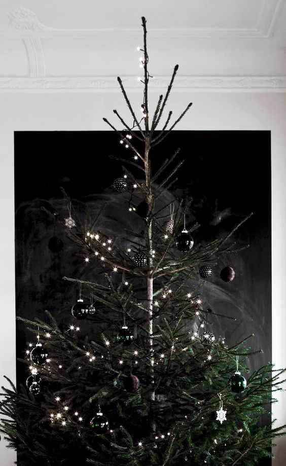 glossy black Christmas ornaments and lights for a