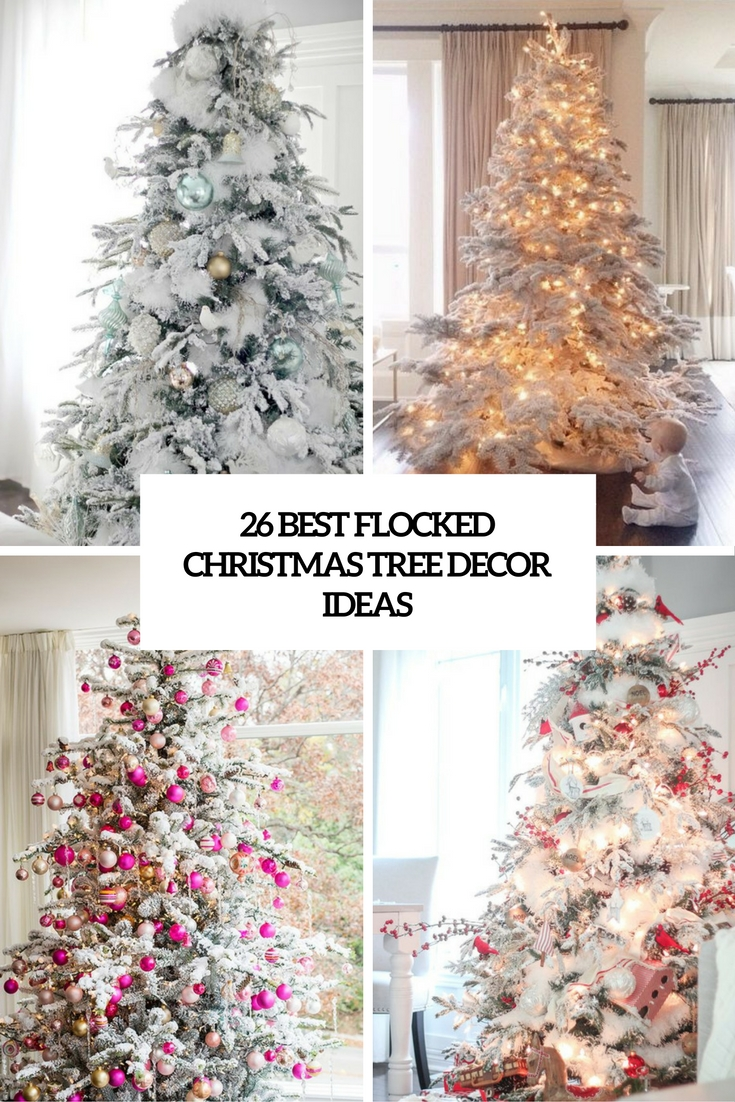 26 best flocked christmas tree d cor ideas digsdigs for Christmas tree lights decorating ideas