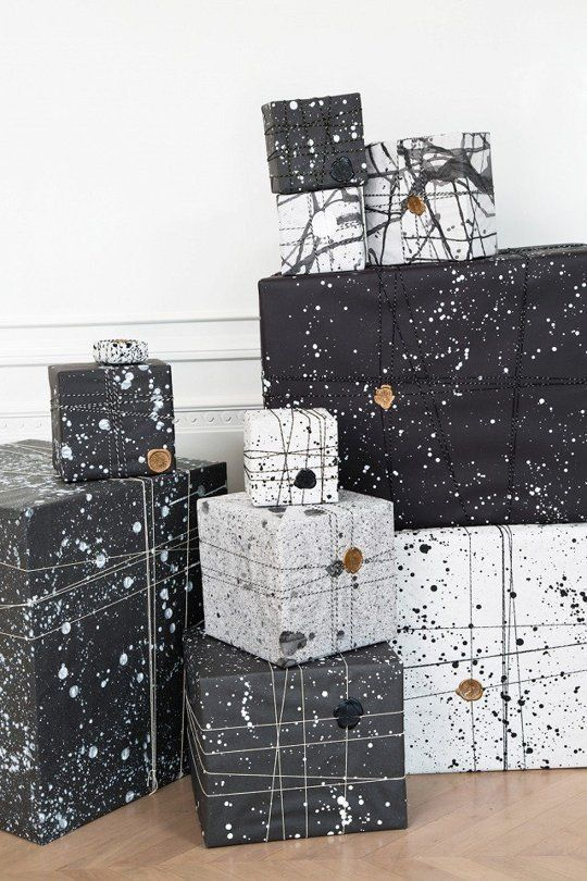 black and white splatter gift wrapping with stamps