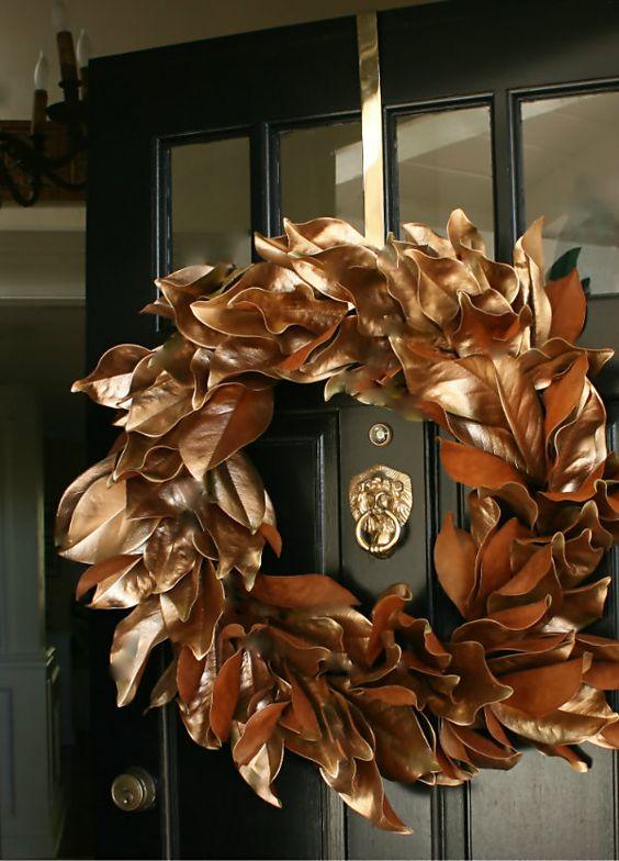 copper magnolia leaves wreath