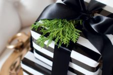 26 striped black and white gift wraps with a black bow