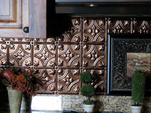 stylish copper backsplash from pressed tin