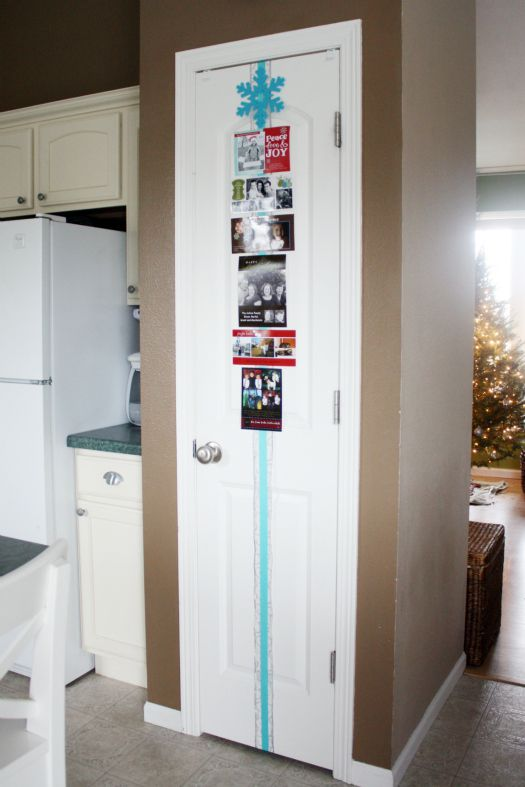 attach a plaid strip to a door and put some pictures on it