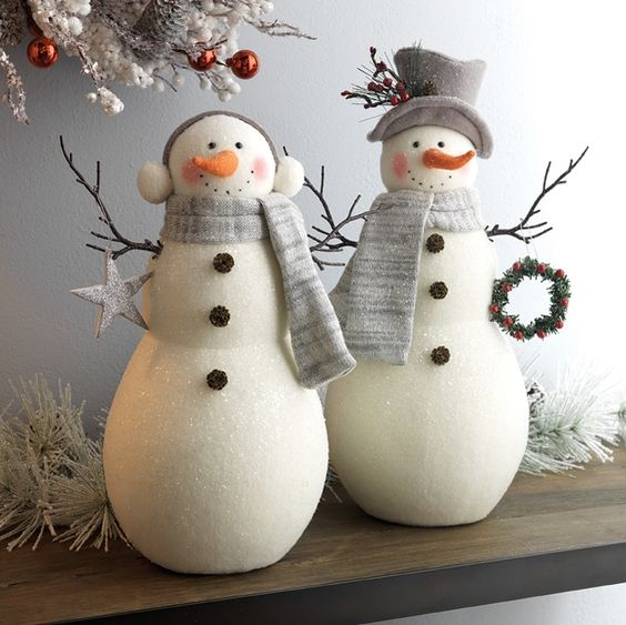 cutest snowmen decorations can be displayed on your mantel or shelf