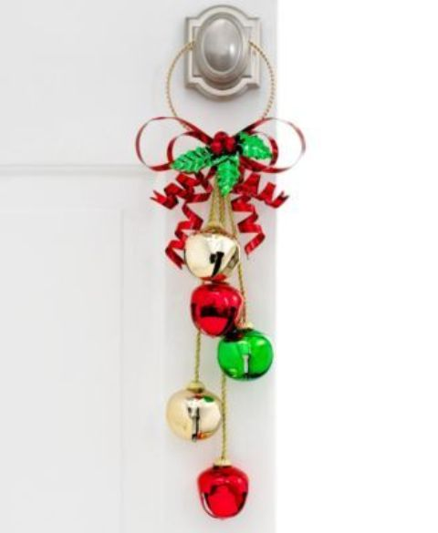 gold, red and emerald jingle bells hanger