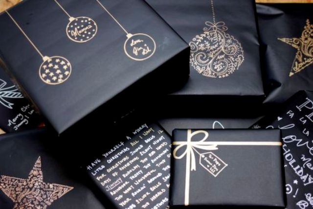 use metallic sharpies on black gifts wrappings