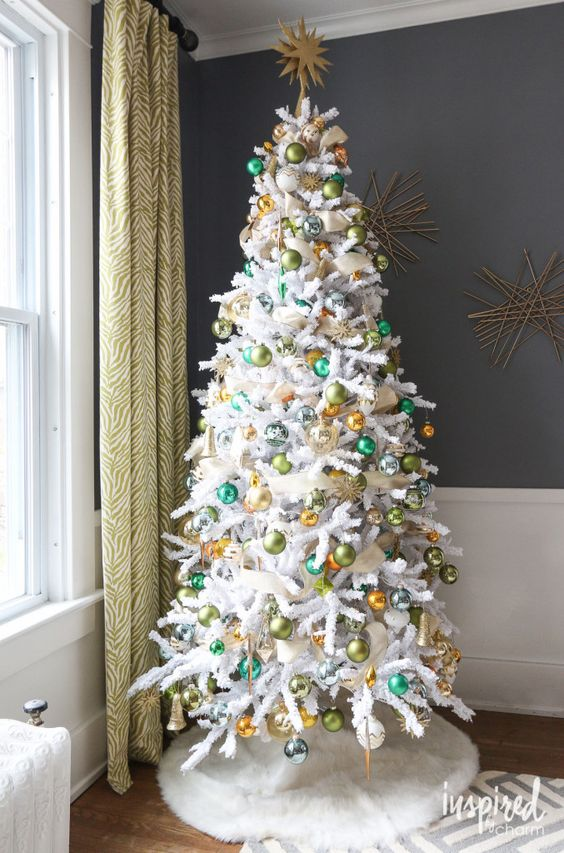 Faux Fir Tree Skirt Imitates Snow Below A White Christmas Tree