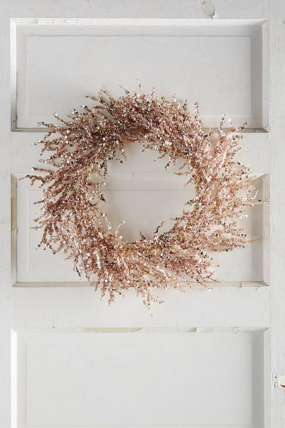 metallic copper wreath for decor