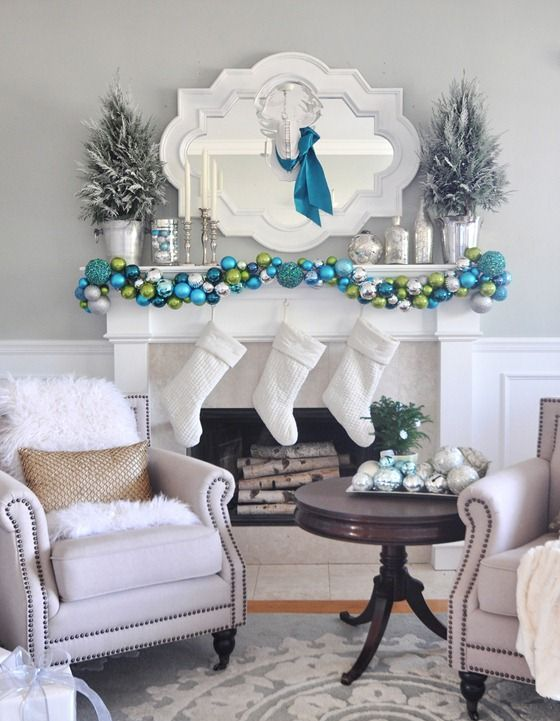 white stockings, an ornament garlands of various shades of blue and green
