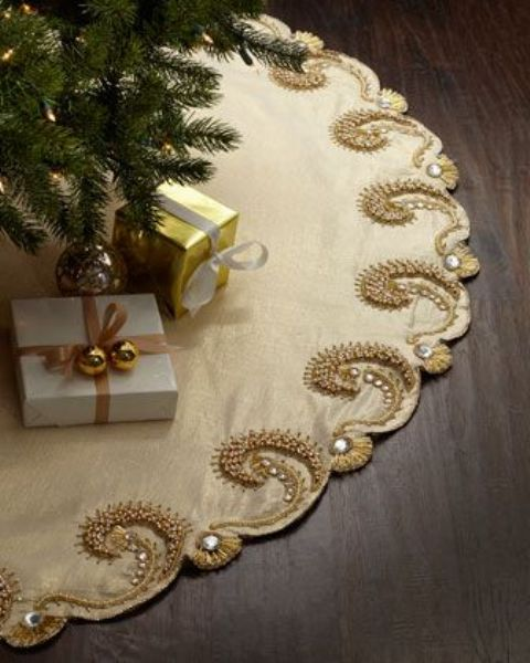 refined champagne tree skirt with gold embroidery