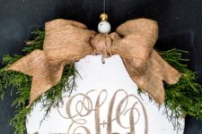 30 carved monogram into a rustic wood Christmas ornament