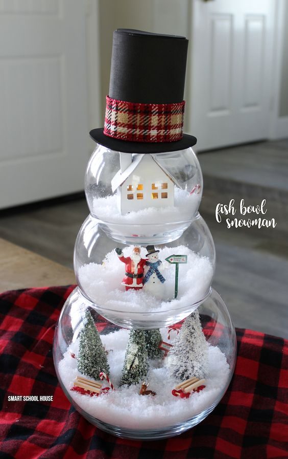 fish bowl snowman can be easily made by yourself