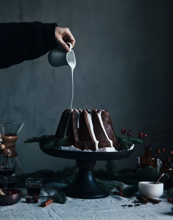 gingerbread bundt cake with lingonberries