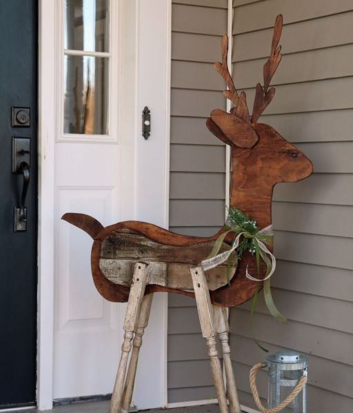reclaimed wood reindeer for outdoor decor