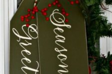 32 Christmas door decor – giant gift tags in olive green