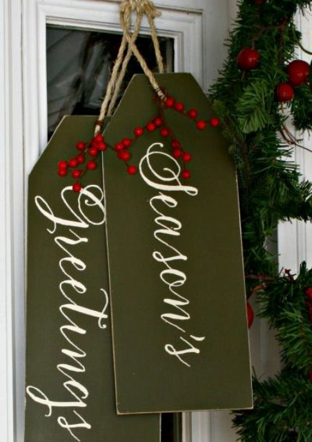 Christmas door decor   giant gift tags in olive green