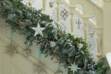 32 lush evergreen garland and silver ornaments