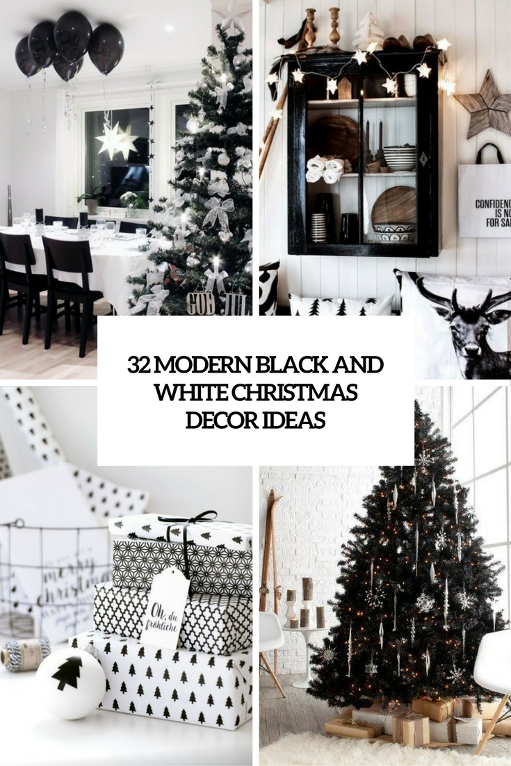32 modern black and white christmas d cor ideas digsdigs. Black Bedroom Furniture Sets. Home Design Ideas