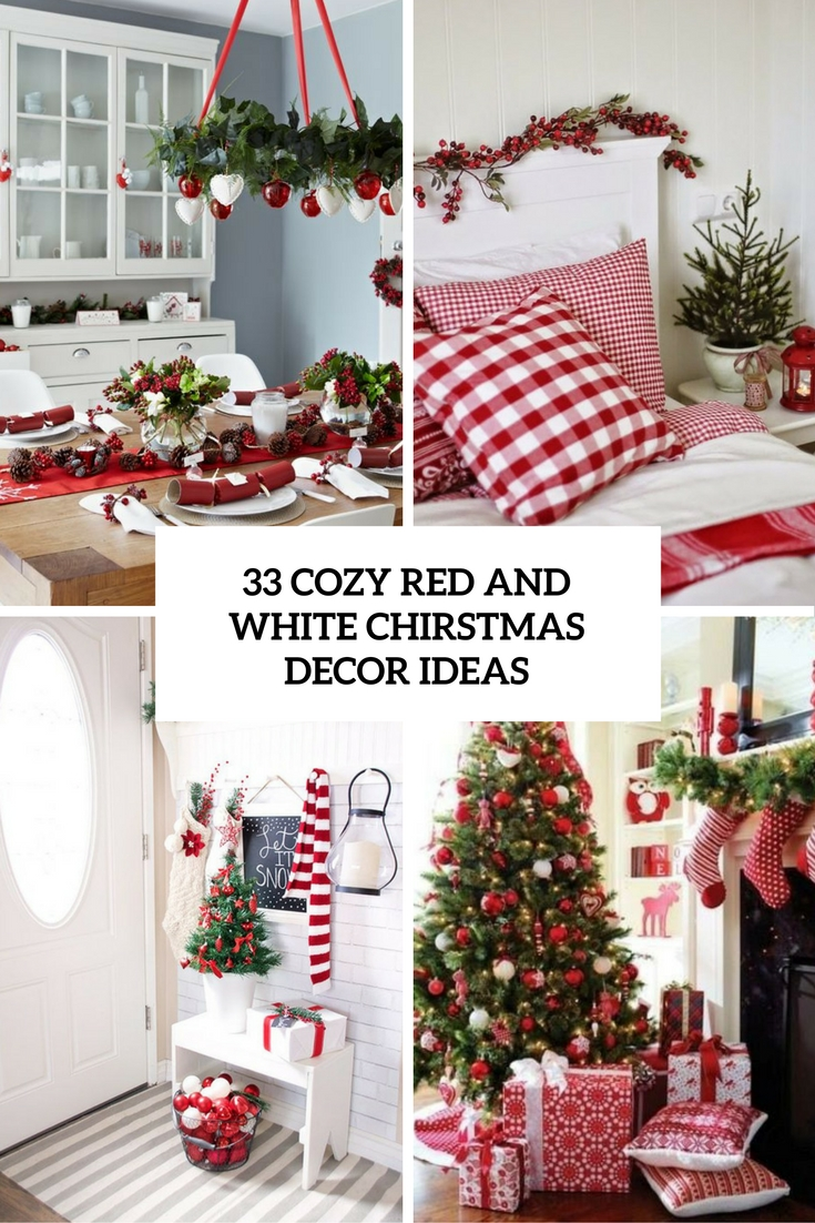 cozy red and white christmas decor ideas cover - White Christmas Tree With Red Decorations