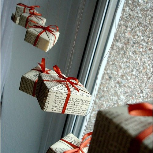 gift boxes hanging by the window
