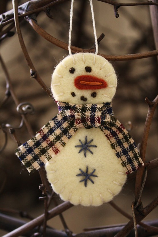 sewn stuffed snowman ornament