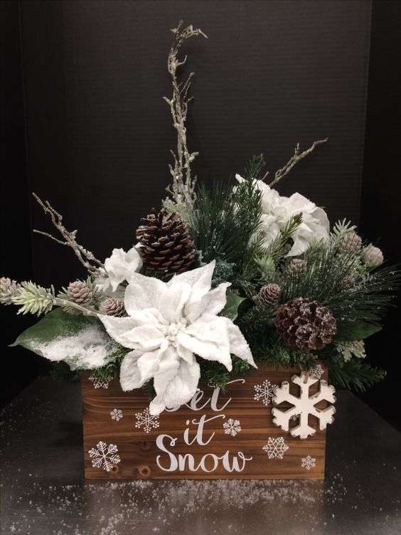 awesome holiday box arrangement with faux evergreens, snowy poinsettia and pinecones
