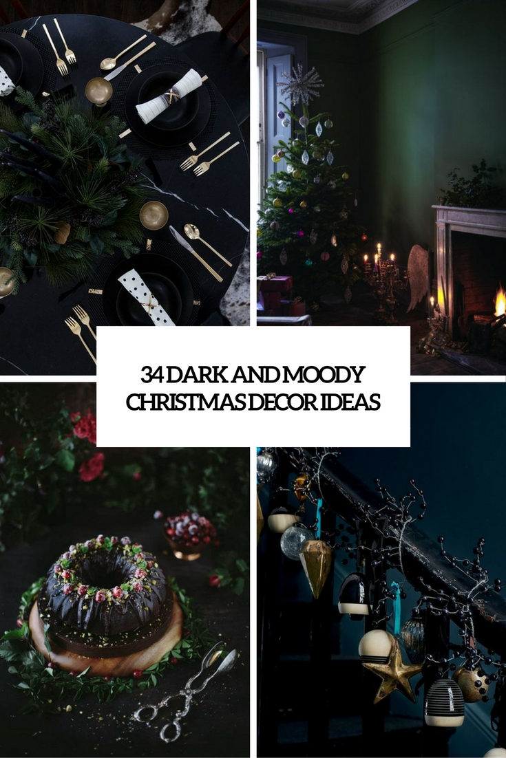 moody and dark christmas decor ideas cover