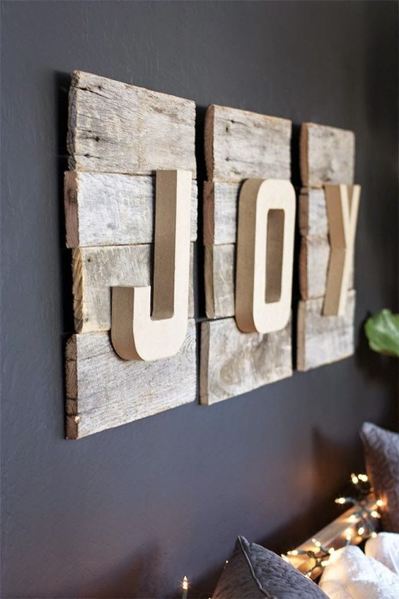 rustic pallet JOY art with a dimension
