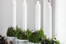35 patterned pots, mossm beads and candles for rustic decor