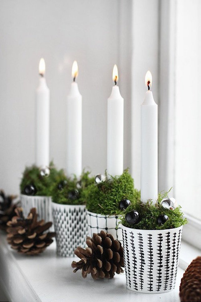 patterned pots, mossm beads and candles for rustic decor