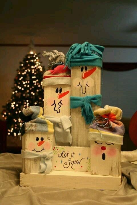 snowman decoration from reclaimed wood and fabric
