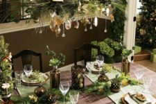 36 greenery and gold ornaments for a candle chandelier